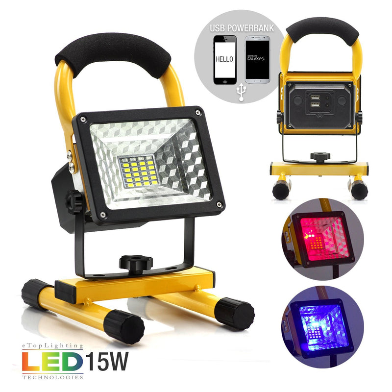 eTopLighting 15W Portable LED Flood Spot Light with Rechargeable Battery and Built-in Power Bank for Outdoor Activities, Work Light, Camping Lights, Emergency Light, Outdoor Lantern, APL1832