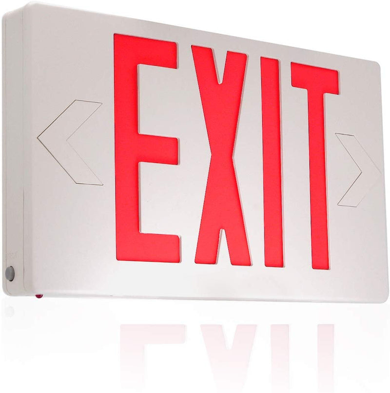 eTopLighting Red LED Exit Sign, Emergency Light, Green Lettering in White Body, Battery Back Up, Extra Face Plate Double Face, Ceiling/Wall Mount, SRE1179