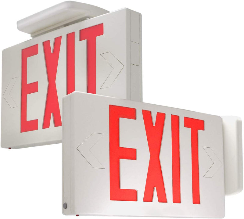 eTopLighting [2 Pack] Red LED Exit Sign, Emergency Light, Green Lettering in White Body, Battery Back Up, Extra Face Plate Double Face, Ceiling/Wall Mount, SRE1081