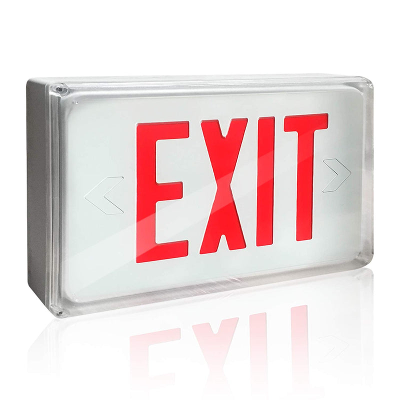 eTopLighting 13.25 x 9.5 x 2 Inch LED Exit Sign Emergency Light, Red Letter Emergency exit Lights 120V-277V Universal Mounting Double Face, SRE1256