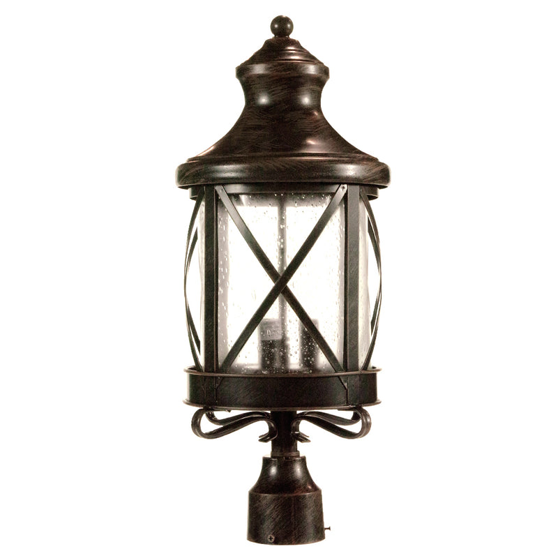 Lux Collection Exterior Post Light with Rain Glass