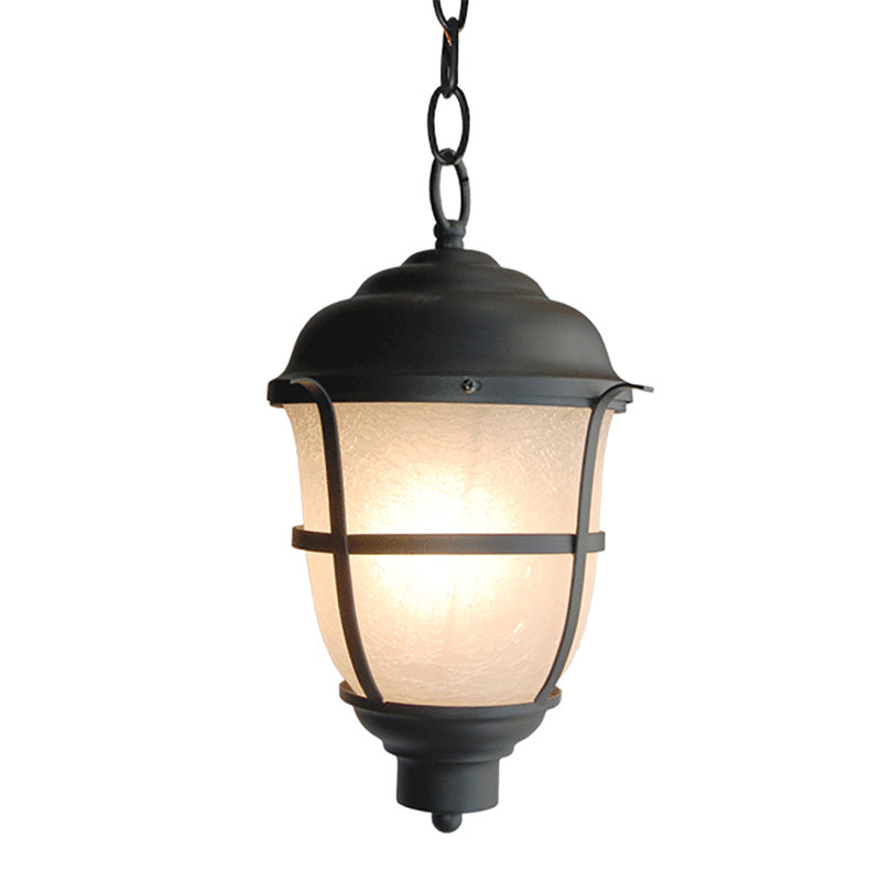 Greek Collection Lantern Light with Frost Cracked Glass, Pendant Light