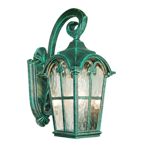 PARTYSAVING Victorian Collection Verde Green Finish Exterior Outdoor Lantern Light with Stamped Glass, Wall APL1086