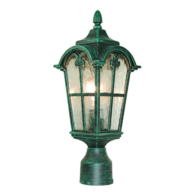Victorian Collection Verde Green Lantern Post Light with Stamped Glass