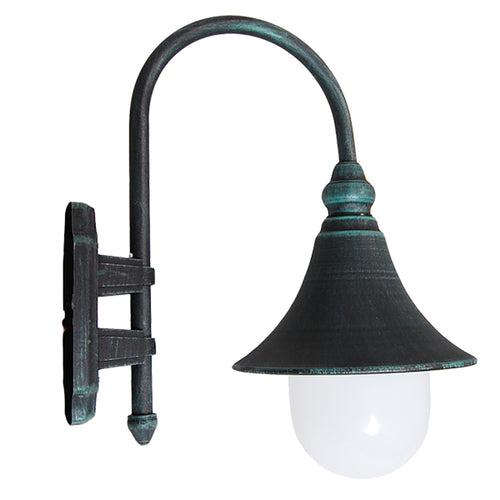Modello Collection Verde Green Outdoor Wall Lantern with Safe White Polycarbonate