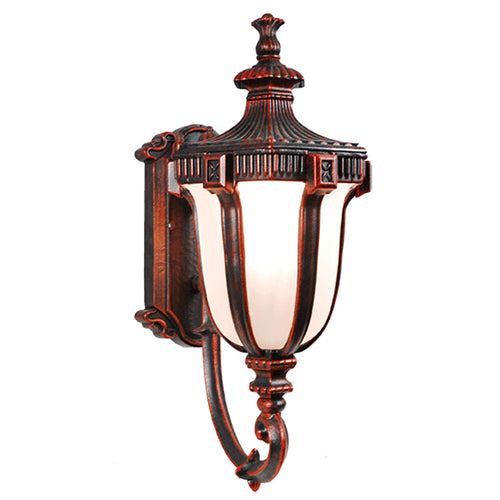 Le Eclairage Collection Terra-cotta Finish Outdoor Wall Lantern with Frost Glass