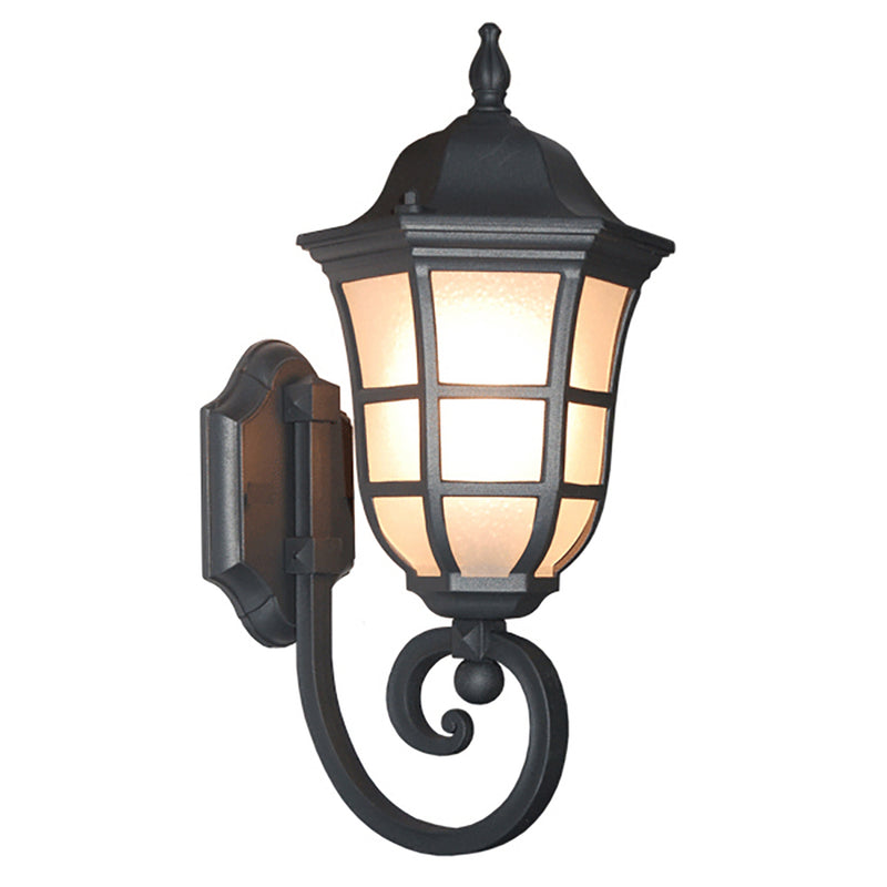 Le noir Collection Matt Black Finish Outdoor Wall Lantern with Frost Bubbled Glass