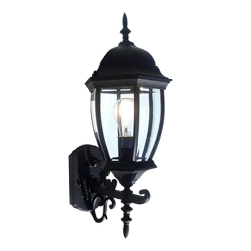 Contempo Collection Oil Rubbed Black Finish Outdoor Wall Lantern with Beveled Glass