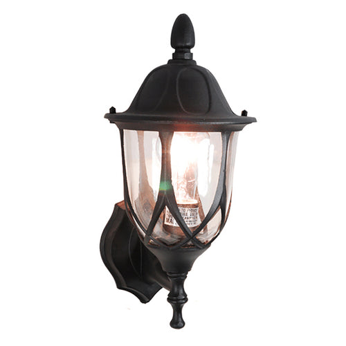 Vogue Collection Oil Rubbed Matt Black Finish Outdoor Wall Lantern with Clear Glass
