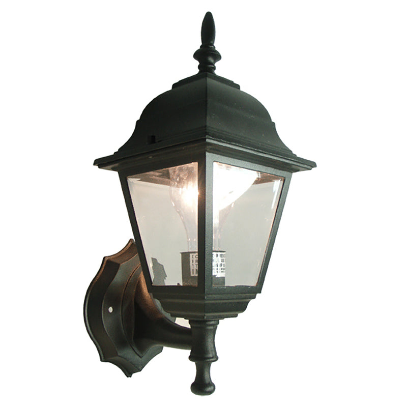 Pandora Collection Oil Rubbed Matt Black Finish Outdoor Wall Lantern with Clear Glass