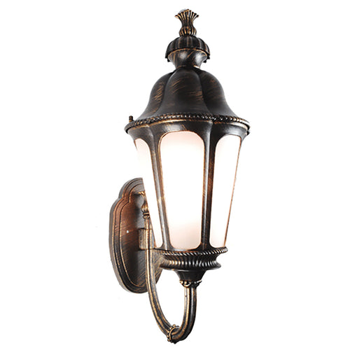 Le bien Collection Oil Rubbed Golden Black Finish Outdoor Wall Lantern with Frost Glass