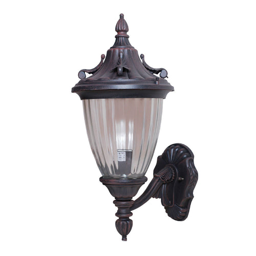 La chandelle Collection Oil Rubbed Bronze Finish Outdoor Wall Lantern with Reeded Glass