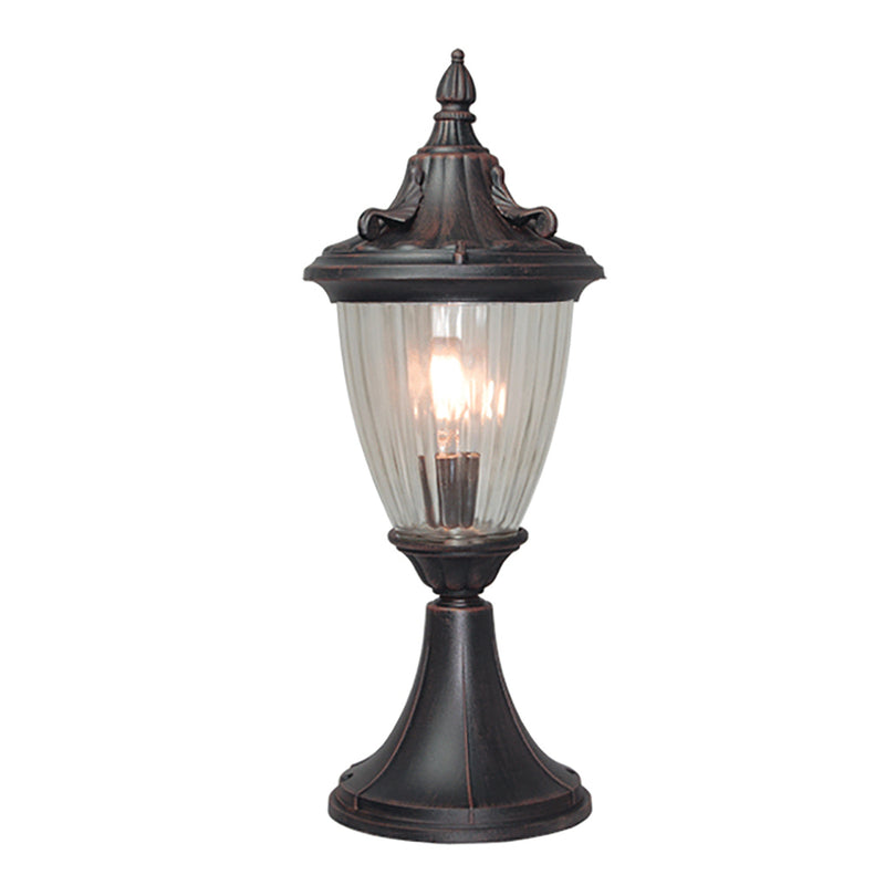 La chandelle Collection Pendant Post Lantern Light Reeded Glass