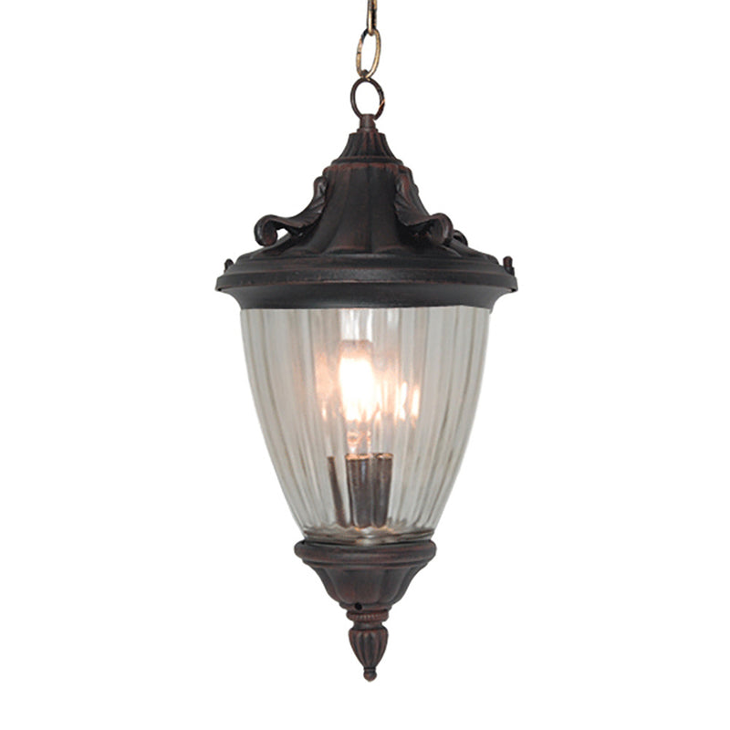 La chandelle Collection Pendant Hanging Lantern Light Reeded Glass