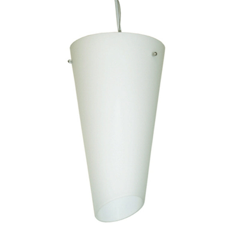 Serena Collection One Light Bell Shape Pendant Lamp, White Cylinder