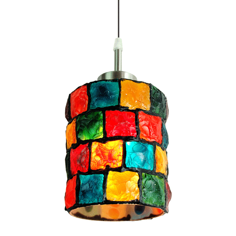 Serena Collection One Light Tiffany Mosaic Glass Hanging Pendant Lamp