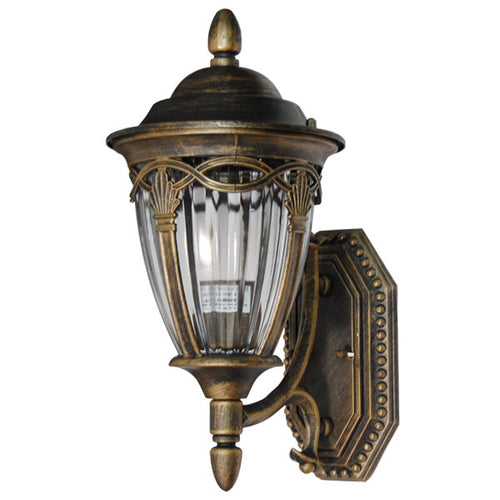 La chandelle Collection Oil Rubbed Golden Black Finish Outdoor Wall Lantern with Reeded Glass