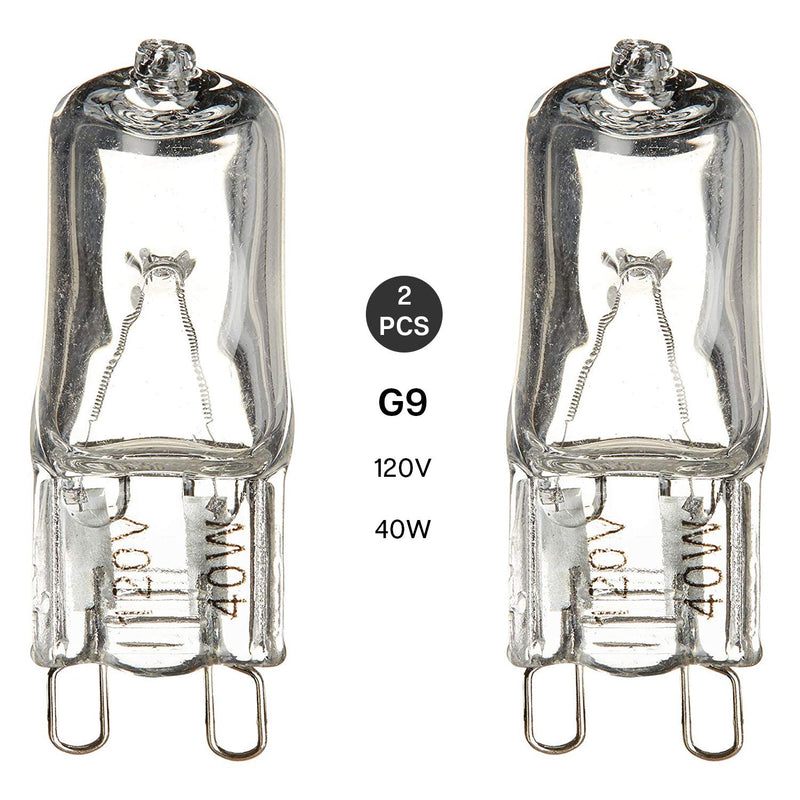 (50% Moving Clearance) [2 Pack] Bright G9 Bi-Pin Clear Base 120V 40W T4 JD Type Halogen Replacement Light Bulb, SRE1364