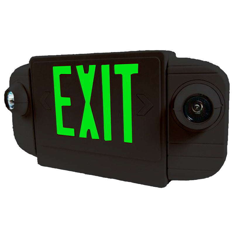 LED Deluxe & Architecture Series Emergency Light Combo - Green Letters - Black