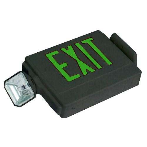 Side Mounting Exit Sign & Emergency Light Combo Light - Green Letters
