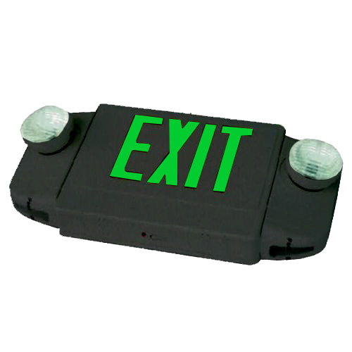 Deluxe & Architecture Series Emergency Light Combo/ Round Lights - Green Letters - Black