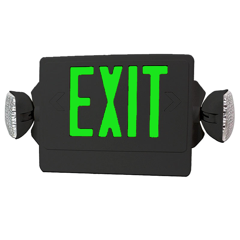 LED Exit Emergency Combo - Black Body & Green Letter