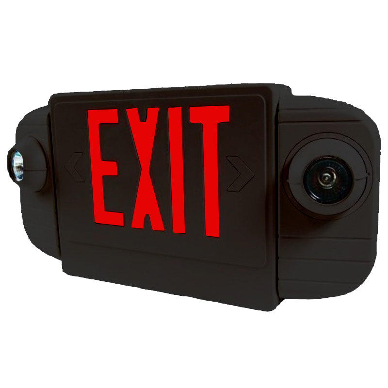LED Deluxe & Architecture Series Emergency Light Combo - Red Letters - Black