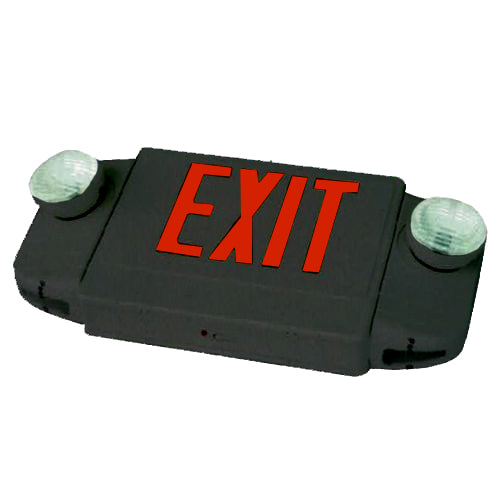 Deluxe & Architecture Series Emergency Light Combo/ Round Lights - Red Letters - Black