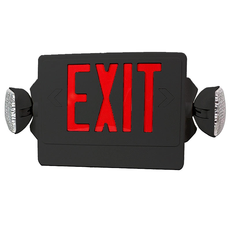 LED Exit Emergency Combo - Black Body & Red Letter