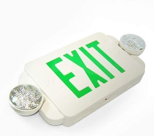 eTopLighting 1 Packs of LED Green Exit Sign Emergency Light Combo with Battery Back-Up, SRE1169