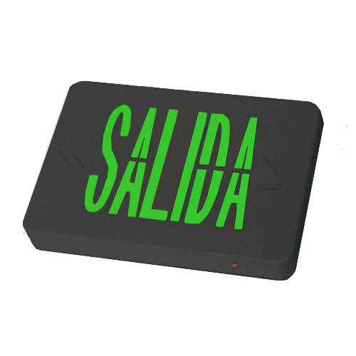 Salida/Exit Sign Black Body & Green Lettering