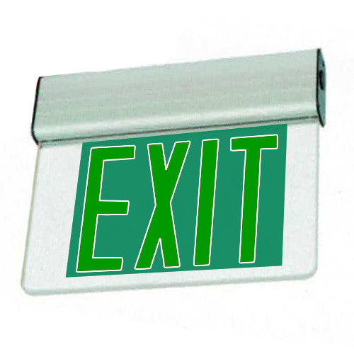 Edgelite Economy Aluminum Extrusion Series LED Surface Exit Sign - Green Letters
