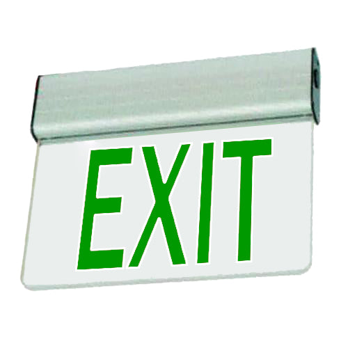 Economy Aluminium Extrusion Series Edgelite Exit Sign - Clear Glass & Green Letters
