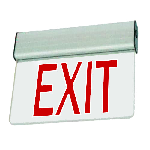 Economy Aluminium Extrusion Series Edgelite Exit Sign - Clear Glass & Red Letters