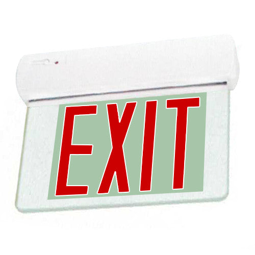 Edgelite Collection Easy Snap Series Surface Exit Sign - Clear Glass + Red Lettering