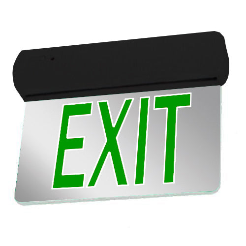 Easy Snap Series Edgelite Exit Sign -  Mirror & Green Letters (Black Body)