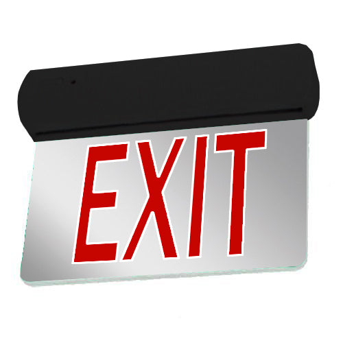 Easy Snap Series Edgelite Exit Sign - Mirror & Red Letters (Black Body)