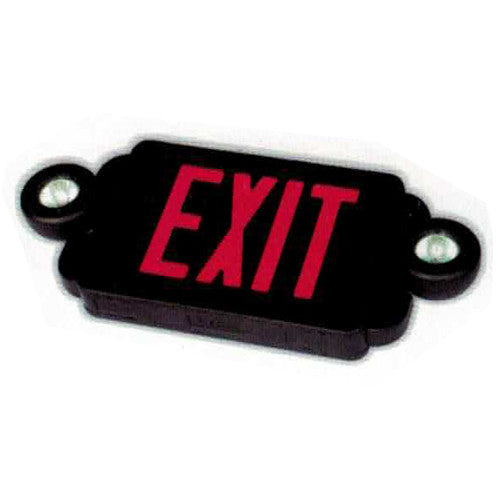 Compact & Slim Series Exit Sign + Emergency Light Combo with MR16 Style Lights - Black Body