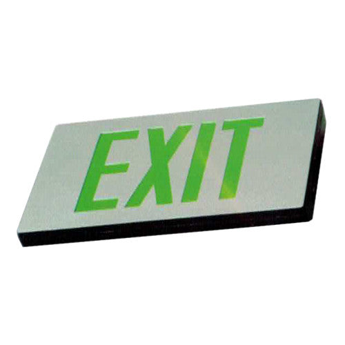 Low Level Silver finish Exit Sign, MS series - Green Lettering