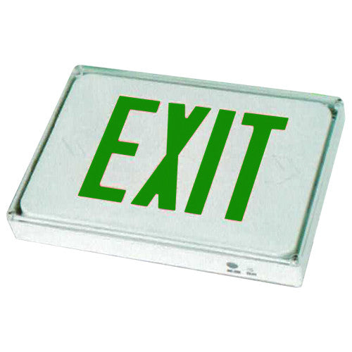 Outdoor Exit Sign, Green Letters