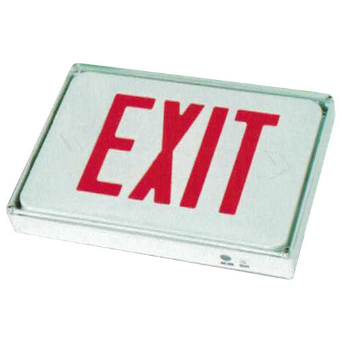 Outdoor Exit Sign, Red Lettering