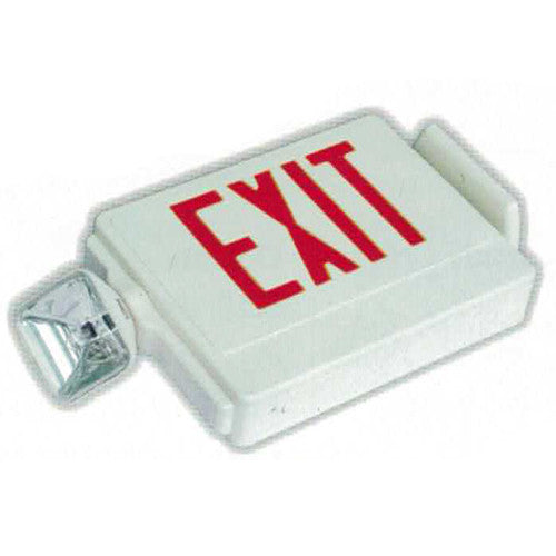 Side Mounting Exit Sign + Emergency Light Combo with Square Lights - White Body