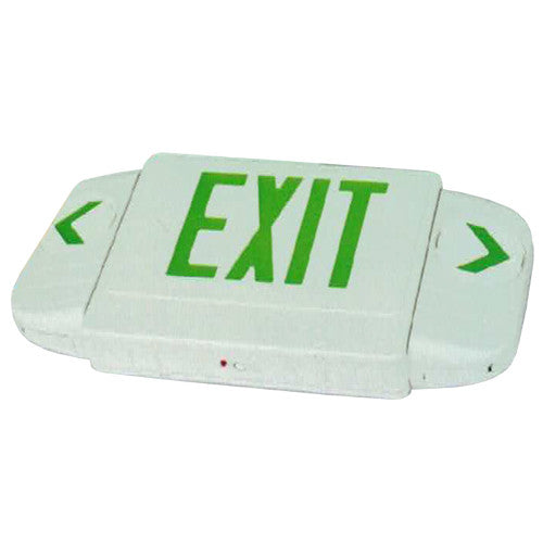 All Directional Series Exit Sign with Arrow Visible 100 Feet, Green Lettering