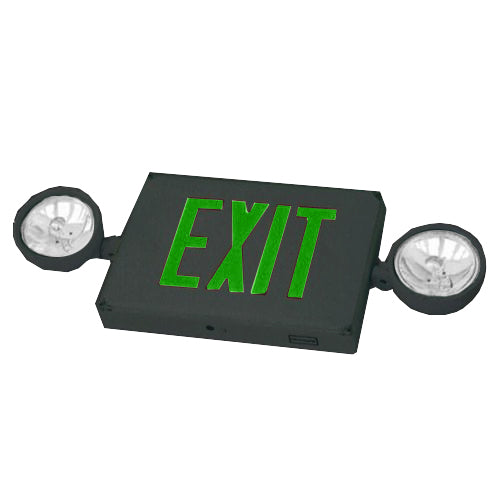 Outdoor Combo Exit Sign PAR36 - Green Letters & Black Body