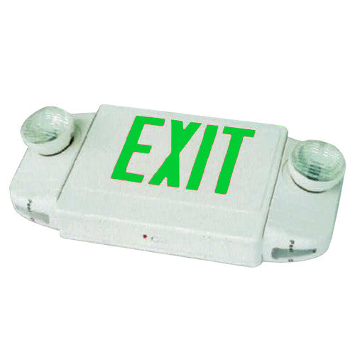 Deluxe Exit Sign + Emergency Light Combo with Round Lights - White Body & Green Letters