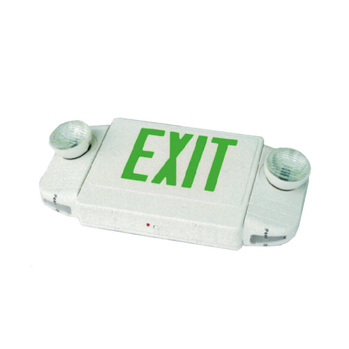 Deluxe Exit Sign + Emergency Light Combo with Round Lights - White Body & Red Letters