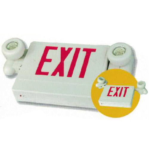 OEM Exit Sign + Emergency Light Combo with MR16 Style Lights - White Body & Red Letters