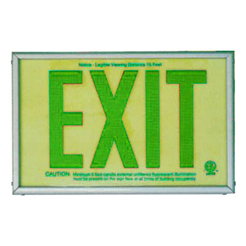 Photo Luminescent Exit Sign Green