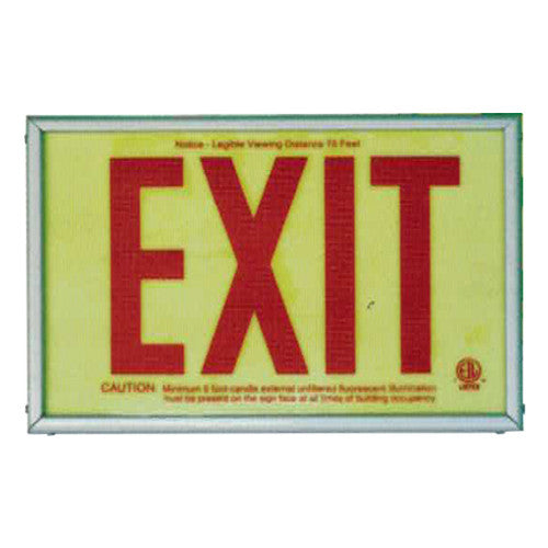 Photo Luminescent Exit Sign Red