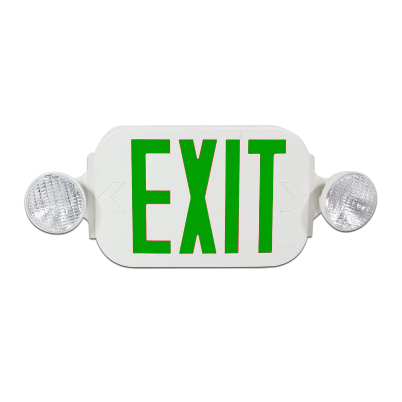 LED Exit Sign Emergency Light Combo with Battery Back Up UL924 ETL listed, Green Lettering in White Body, Bug Eye Side Light